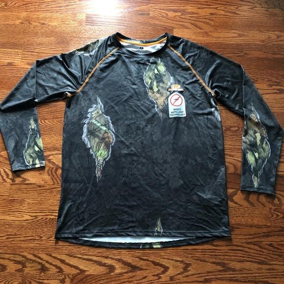 Mossy Oak Camouflage Dri Fit Wick Long Sleeve t shirt Camo Small Medium NEW